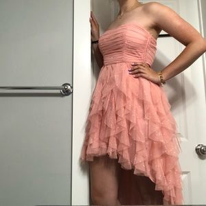 TEEZEME Pink High Low Glittery Sleeveless Dress